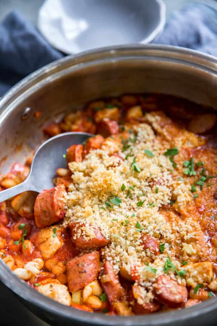 Cassoulet recipe spoon in skillet