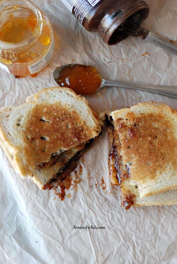Fontina cheese, apricot jam and Hershey's chocolate spread make the best grilled cheese! www.lemonsforlulu.com