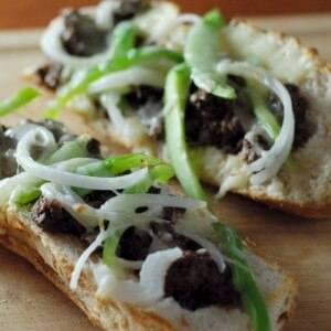 French bread pizza takes on the Philly Cheese steak with lots of peppers, onions and provolone cheese!