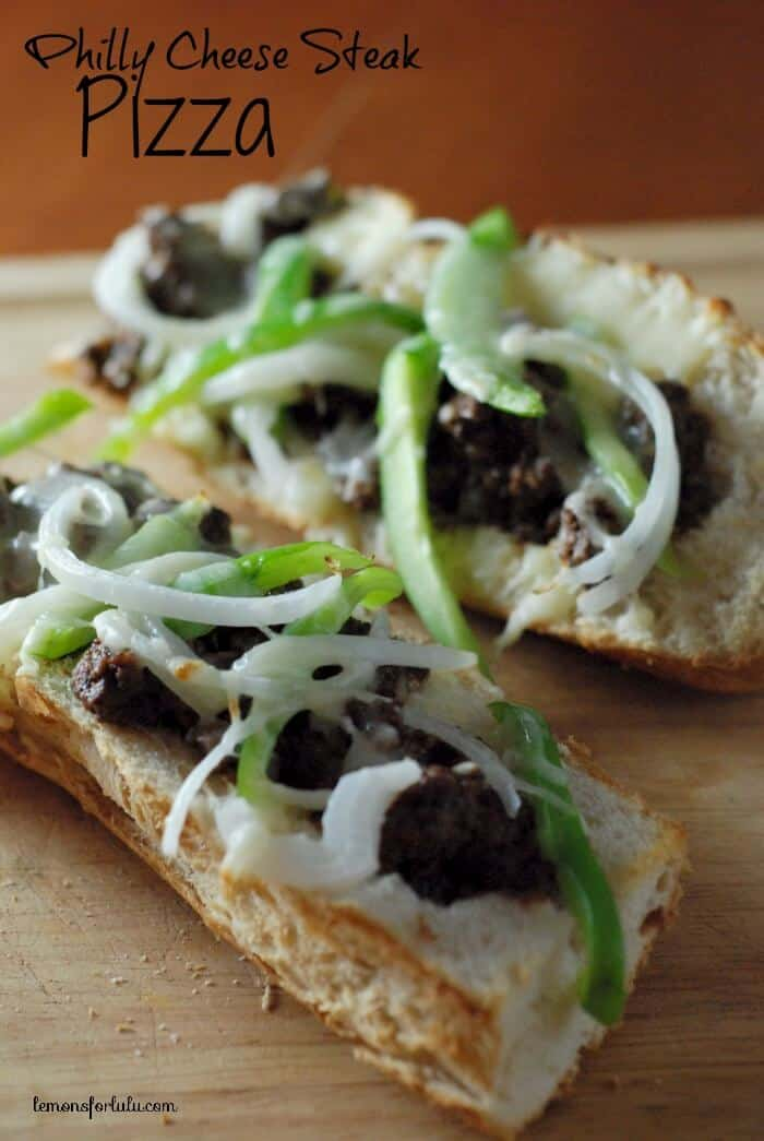 Philly Cheese Steak meets French Bread Pizza! Beef, peppers and onions ...