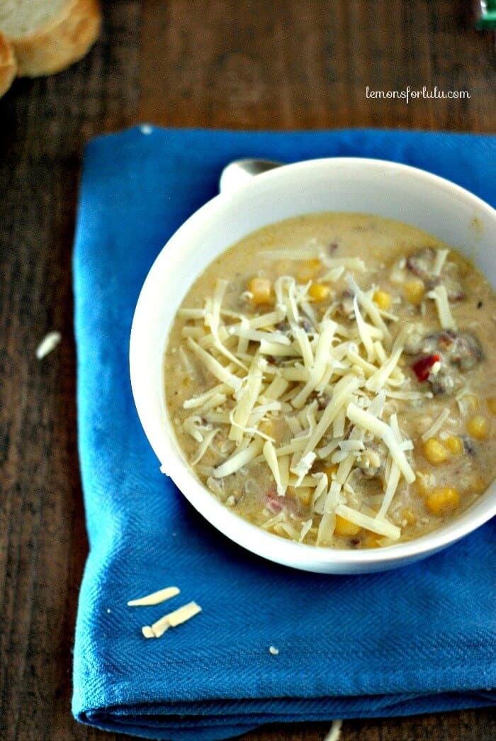 Skinn Sausage and Corn Chowder www.lemonsforlulu.com