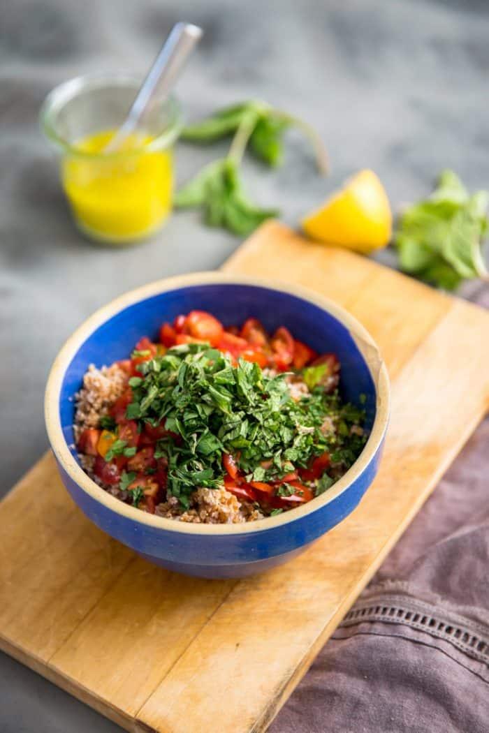Tabbouleh ingredients in a bowl