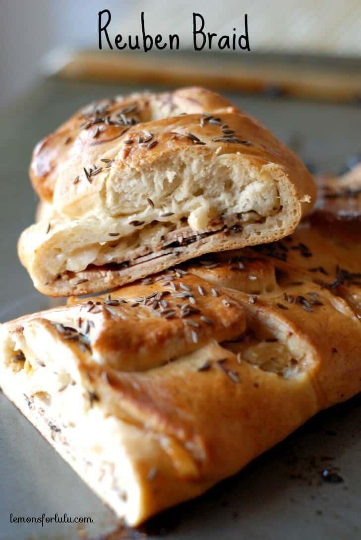 Rhodes bread dough filled with turkey pastrami, swiss cheese and sauerkraut! www.lemonsforlulu.com