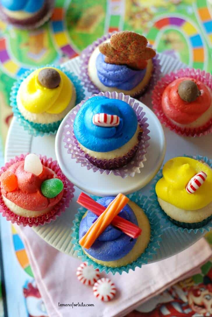 An assortment of yummy candies can be found on these Candy Land Cupcakes!