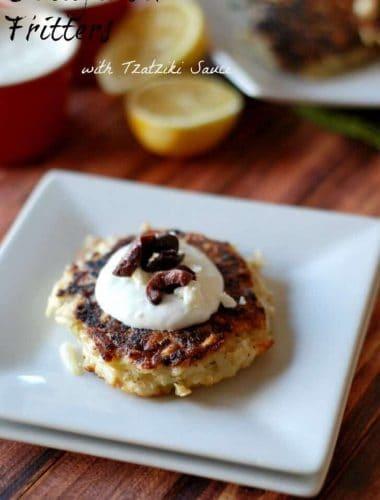 Simple Cauliflower Fritters with Tzatziki sauce www.lemonsforlulu.com
