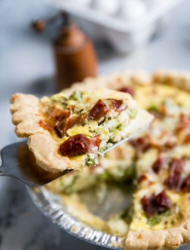 easy quiche recipe with a slice being served