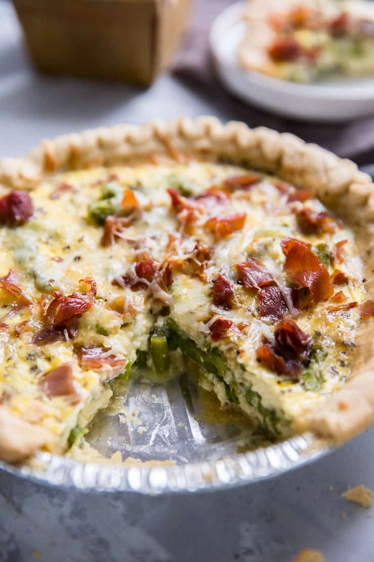 easy quiche recipe with a piece missing