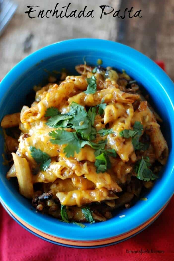 Enchilada pasta with lean ground turkey, corn, black beans, enchilada sauce and lots of cheese!