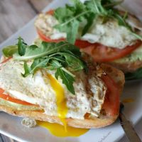 Open Faced Fried Egg Sandwich with Edamame