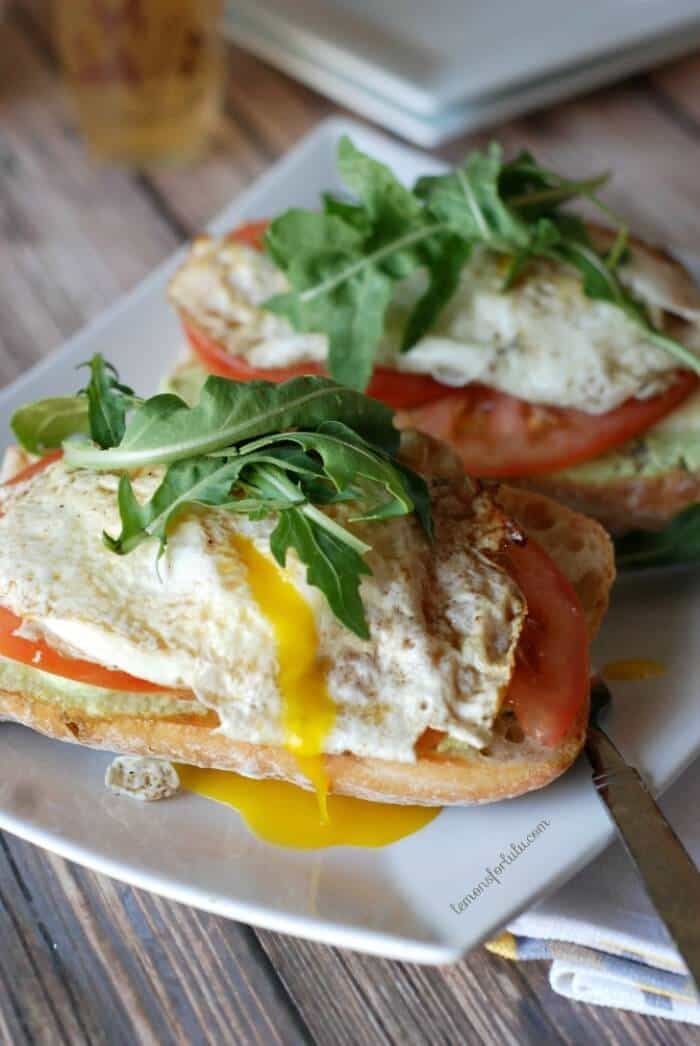 Open Faced Fried Eggs and Edamame Sandwich via Lemons for Lulu; Meal Plans Made Simple