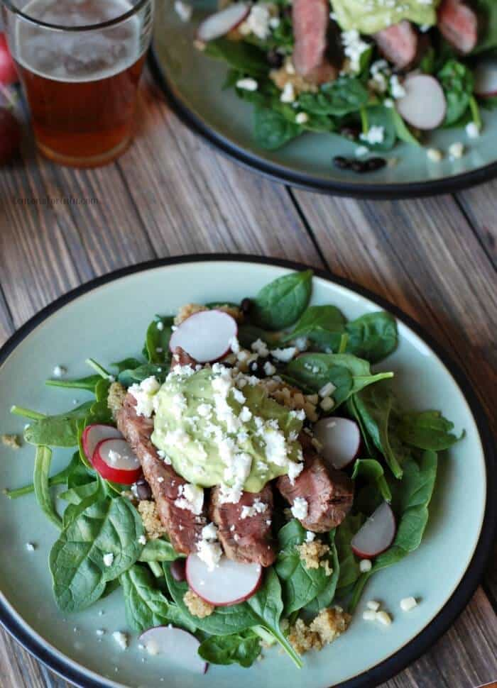 Steak Salad with Avocado Dressing via Lemons for Lulu; Meal Plans Made Simple