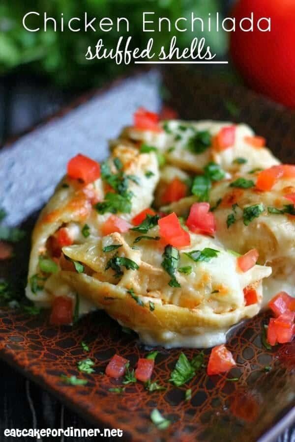 Chicken Enchilada Stuffed Shells | Eat Cake For Dinner via lemons for lulu