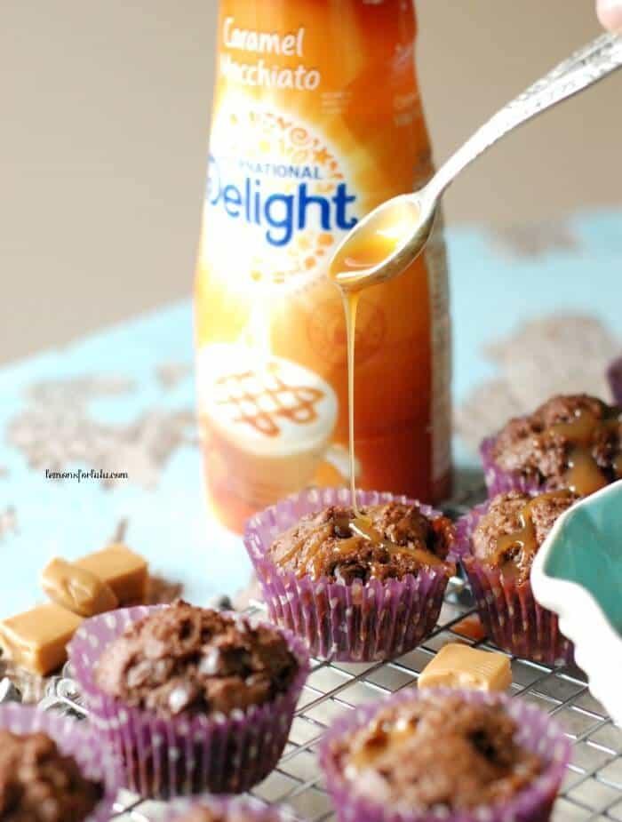 Caramel macchiato flavor packed into a chocolate muffin! www.lemonsforlulu.com