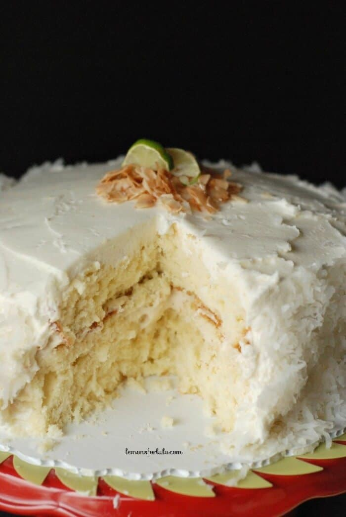 cake holding a tangy key lime filling and surrounded by a coconut ...