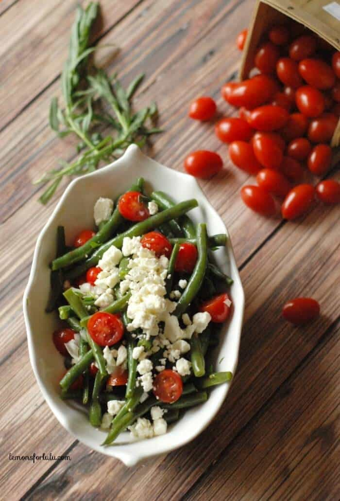 simple green bean salad with cherry tomaotes, feta and a tarragon ...