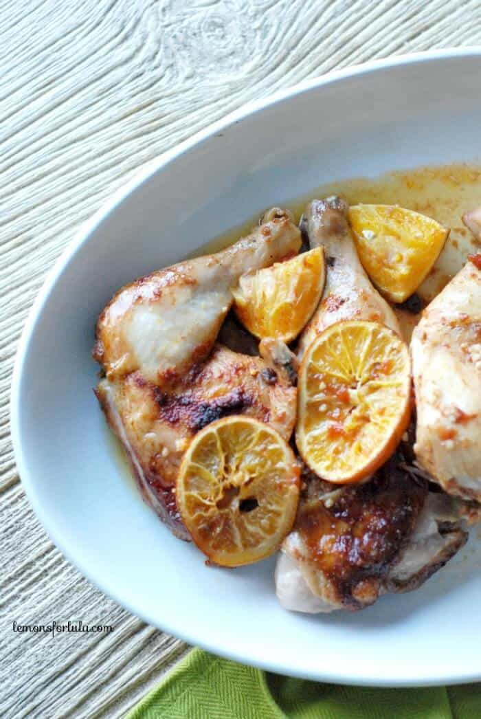 Citrusy sweet and slow cooked maple orange bbq chicken. www.lemonsforlulu.com