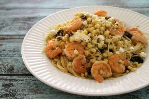 Shrimp and Corn Angel Hair Pasta with Feta via White Lights on Wednesday; Meal Plans Made Simple