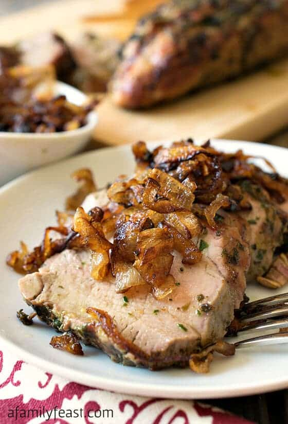 Herb Crusted Grilled Pork Tenderloin with Crispy Shallots via A Family Feast; Meal Plans Made Simple