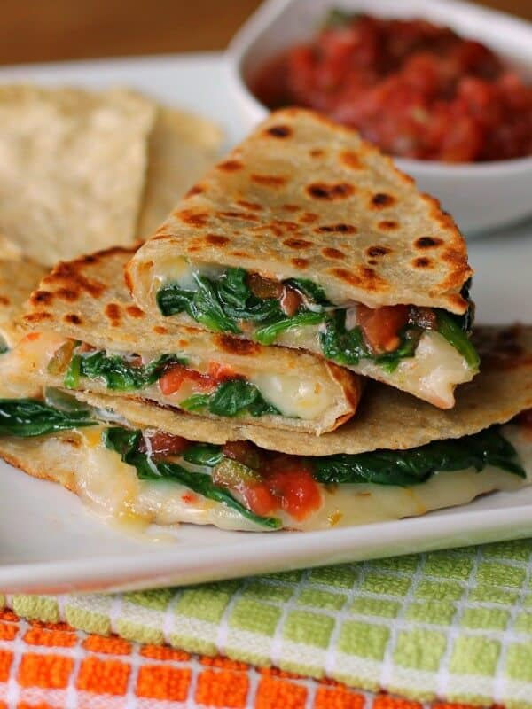 Spicy Spinach Quesadillas via The Weary Chef; Meal Plans Made Simple