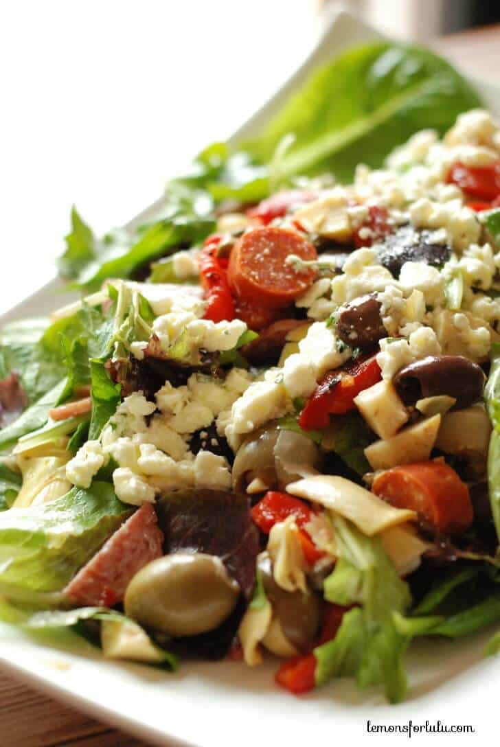Antipasto Salad with Feta Vinaigrette - Lemons for Lulu