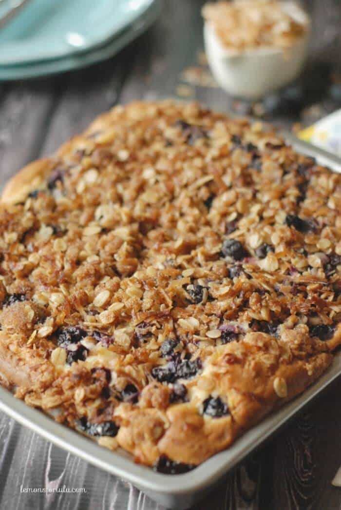 Light and tender coffee cake filled with lots of fresh blueberries and ...
