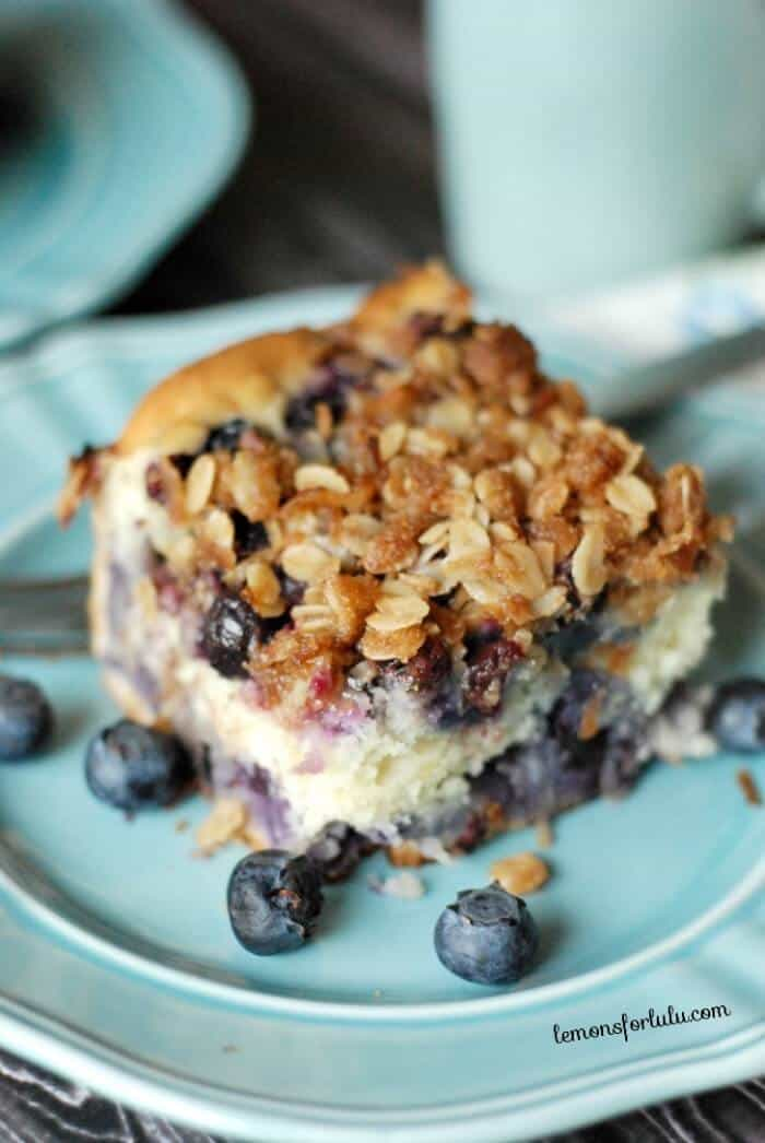 Coffee Cake with blueberries and a coconut streusel