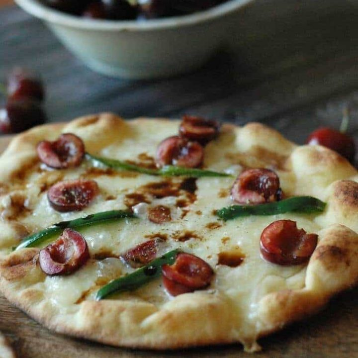 Grilled Cherry & Brie Pizza