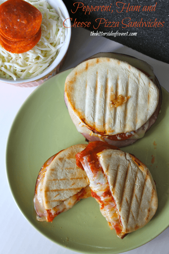 Pepperoni, Ham, & Cheese Pizza Sandwiches via The Bitter Side of Sweet; Meal Plans Made Simple