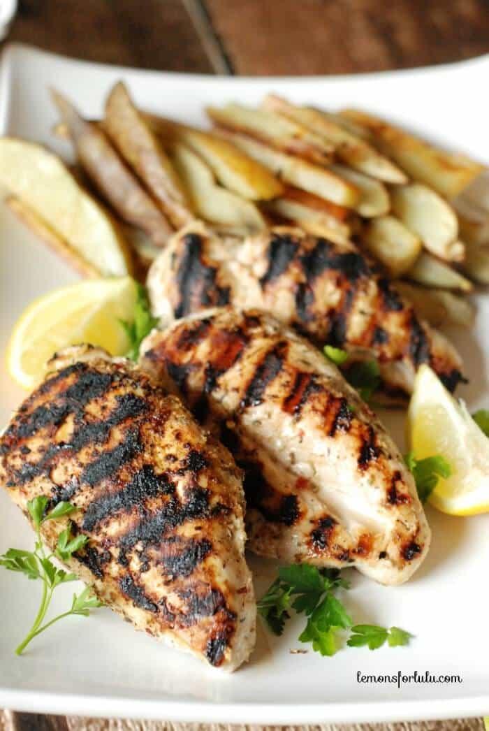 Grilled Chicken breast coated in Jamaican Jerk seasoning www.lemonsforlulu.com