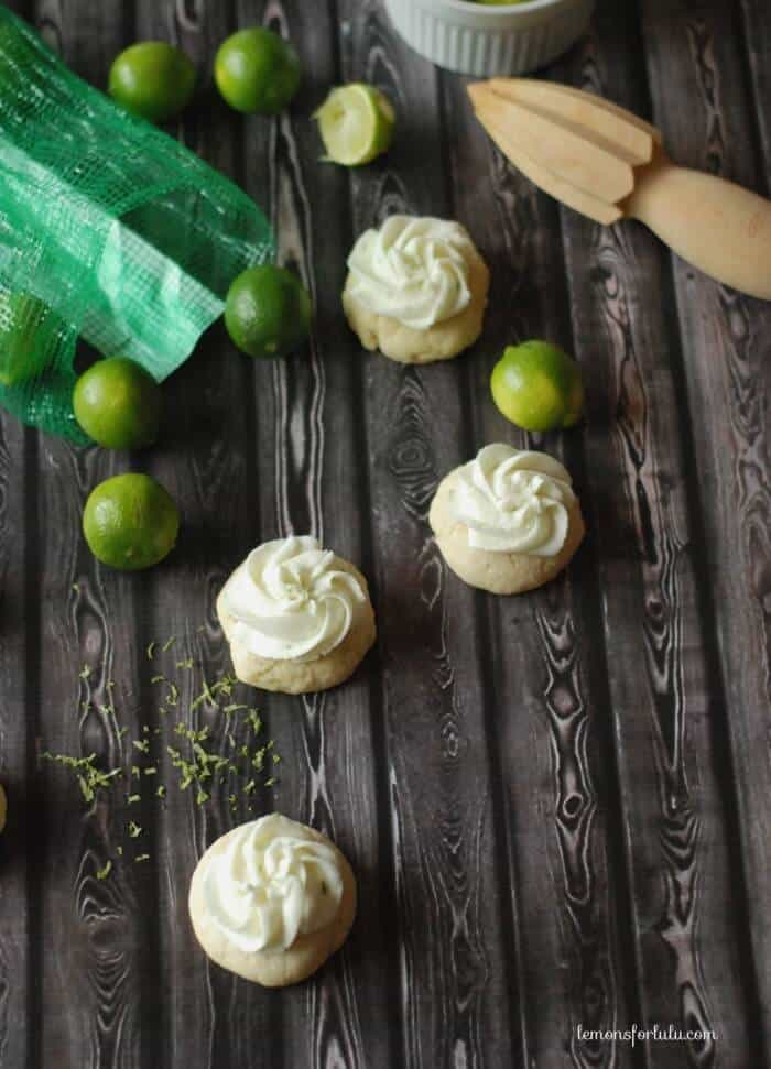Soft sugar cookies with a tart key lime frosting! www.lemonsforlulu.com