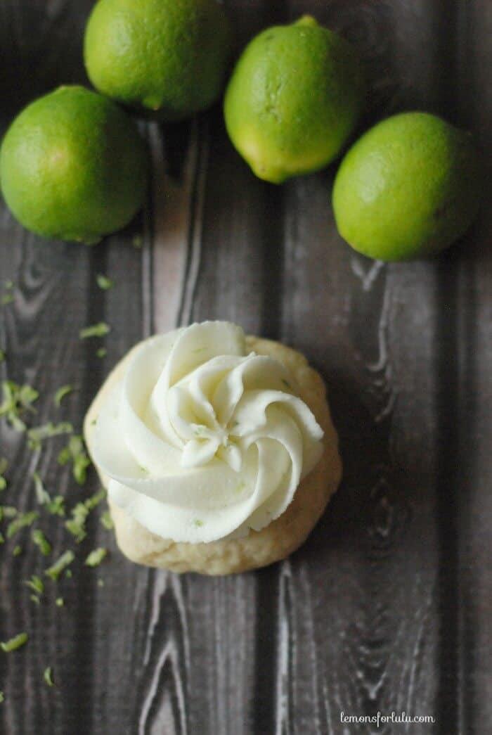 Soft, frosted mini sugar cookies made with fresh key limes! www.lemonsforlulu.com
