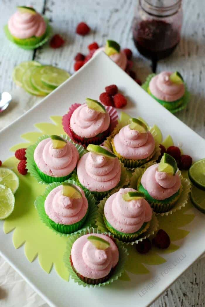 Lime Cupcakes with Raspberry Buttercream Frosting