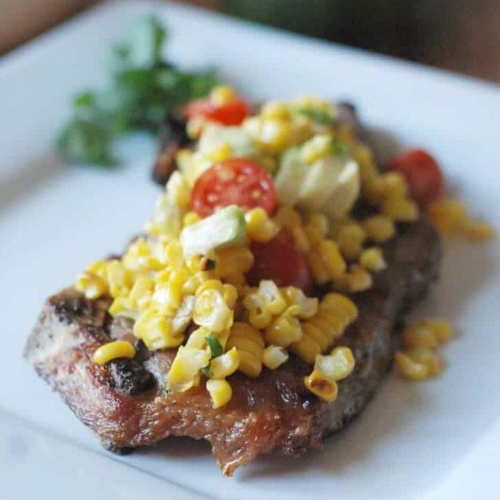 Charred Corn Salsa over Grilled Cumin Steak