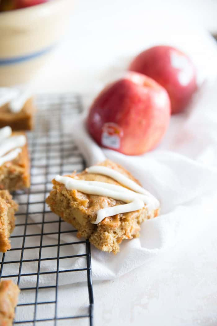 Apple carrot cake bar tilted