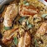 Baked Chicken and Orzo pasta with fresh mushrooms.