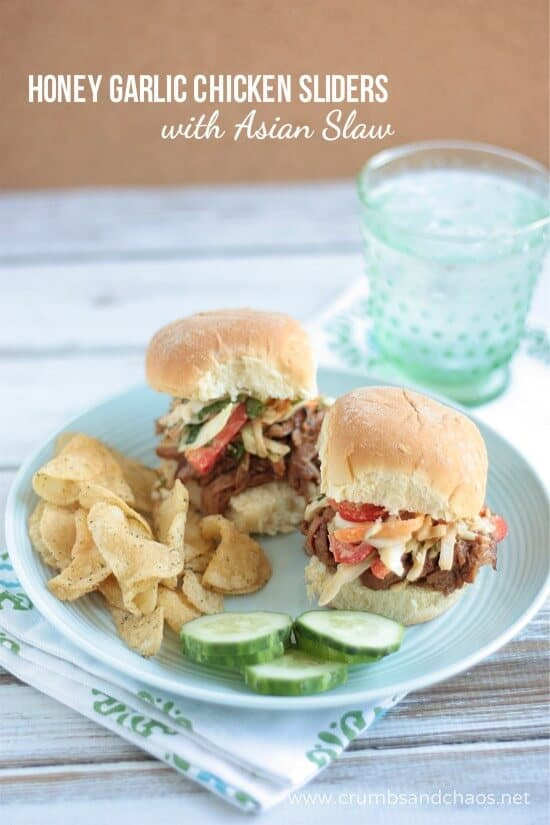 Honey Garlic Chicken Sliders via Crumbs and Chaos on meal Plans Made Simple