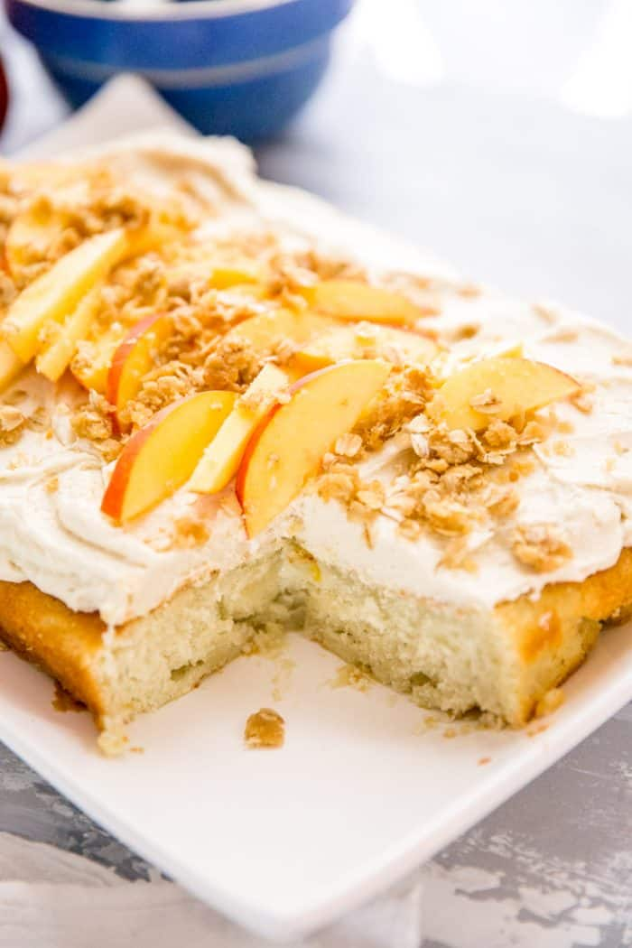 Peach Cake with cobbler topping
