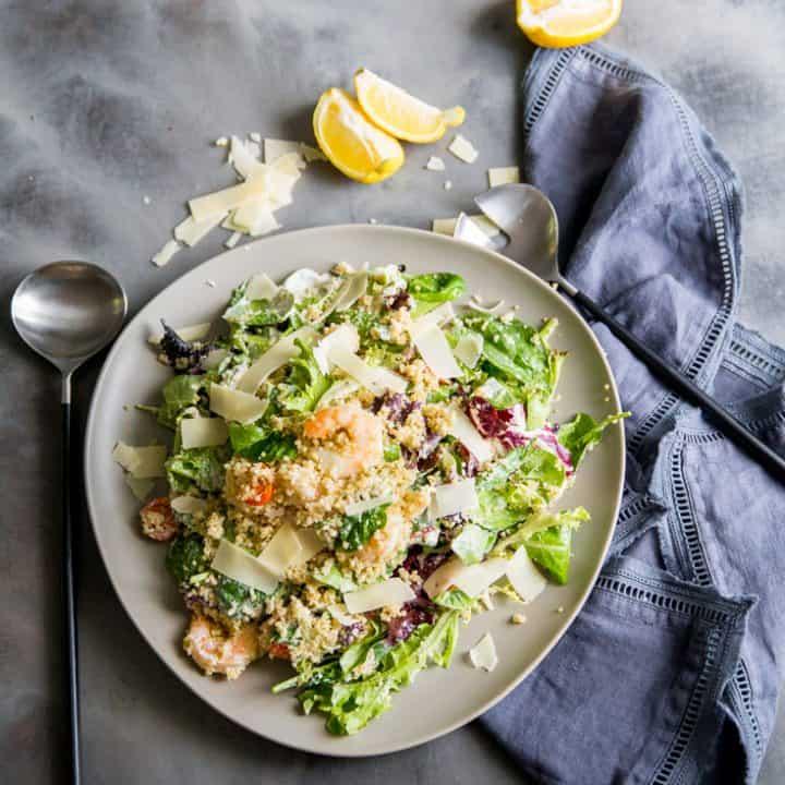 Shrimp Caesar Salad Recipe with Quinoa