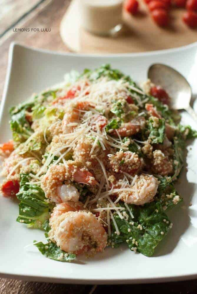 This shrimp Caesar salad recipe begins like any other Caesar salad with Romaine lettuce and Parmesan . Shrimp, quinoa take it to a whole new level. www.lemonsforlulu.com