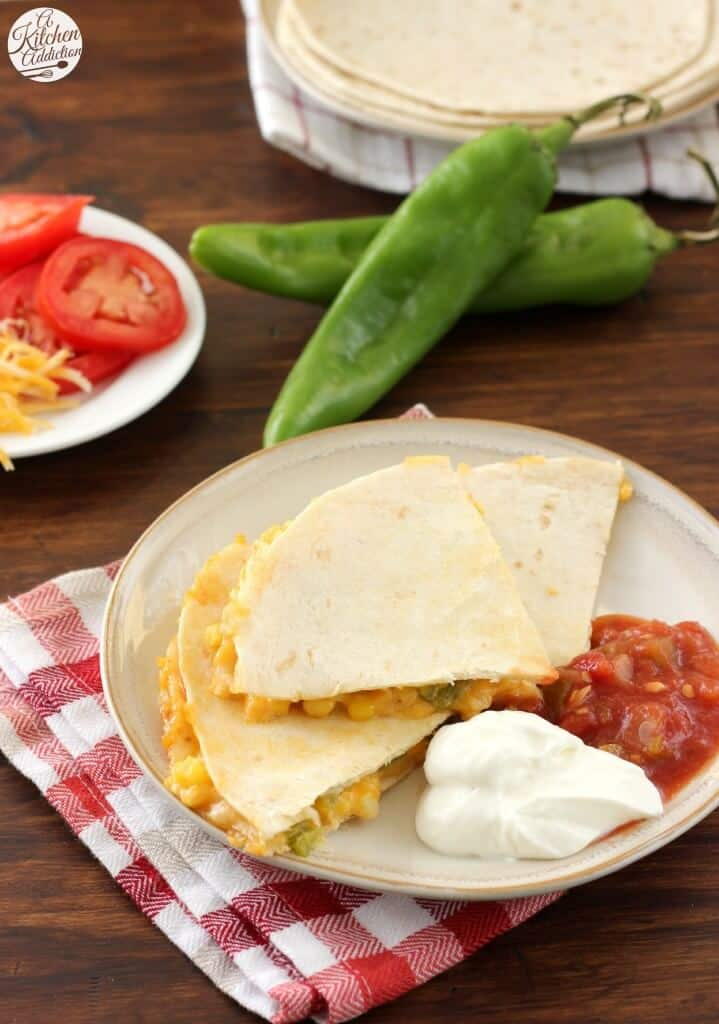 Hatch Chile and Sweet Corn Quesadillas via A Kitchen Addiction on Meal Plans Made Simple