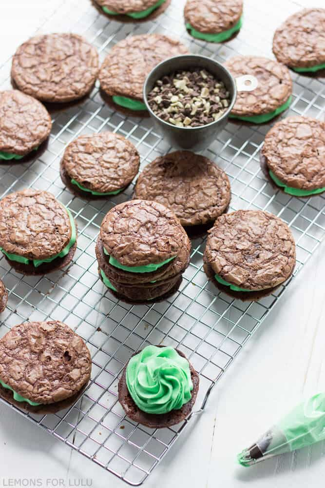 ... chocolate mint cookies hugging a luscious and creamy mint filling