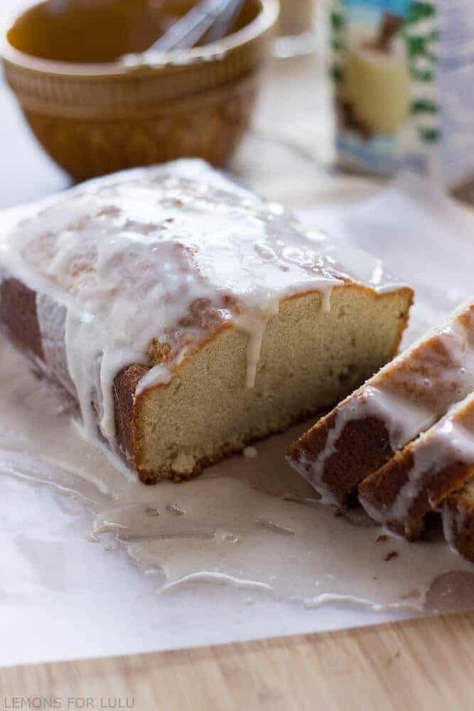Eggnog pound cake is so easy and festive! Make two it will go fast! www.lemonsforlulu.com #IDelight