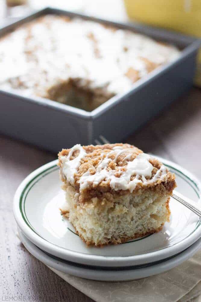 "This is such an easy coffee cake! The ginger streusel and the maple glaze makes it festive and easy! www.lemonsforlulu.com #Fleischmann's Yeast"" width="