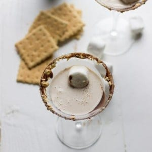 This S'Mores Martini is made with adult chocolate milk and marshmallow vodka! It is absolutely delicious! www.lemonsforlulu.com