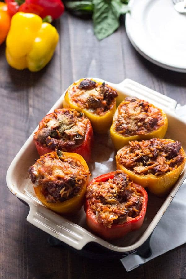Italian-Style Stuffed Red Peppers Recipe — Dishmaps