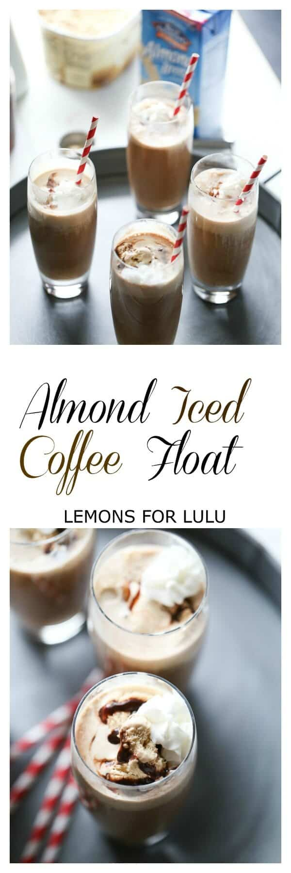 Need an afternoon pick me? This easy almond iced coffee float is all you need! Brewed coffee, unsweetened vanilla almond milk, chocolate and coffee ice cream are all that stand between you and happiness! lemonsforlulu.com #ad