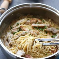 Linguini is tossed with a light and creamy lemon sauce. Lightly seared turkey is served on top. This lemon pasta is a refreshingly simple meal. lemonsforlulu.com