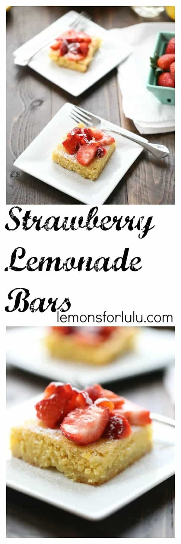 photo collage - easy strawberry lemonade bars on white serving plates.