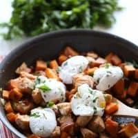 Sweet potato hash with salmon and eggs is the perfect meal for breakfast OR dinner! lemonsforlulu.com