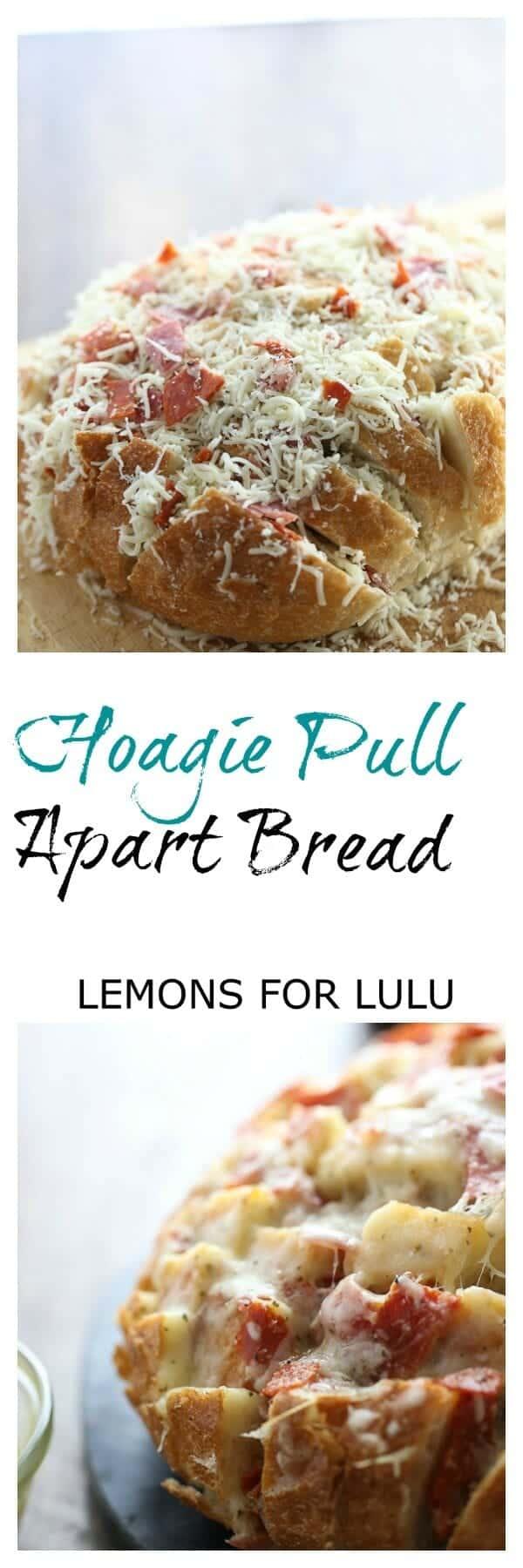 The best part of a hoagie sandwich in one big cheesy pull apart bread! lemonsforlulu.com